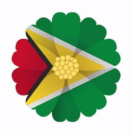 illustration of flower Flag Guyana