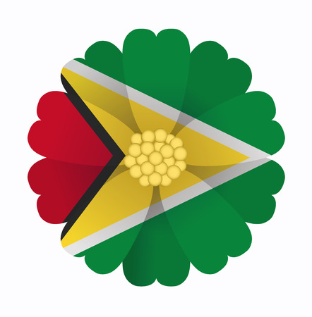 guyana: illustration of flower Flag Guyana