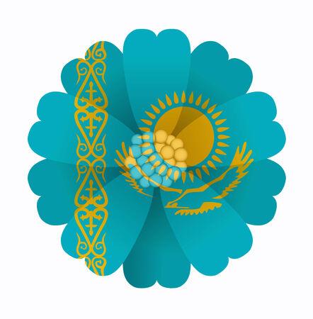 illustration of flower Flag Kazakhstan Vector
