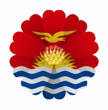 kiribati: illustration of flower Flag Kiribati