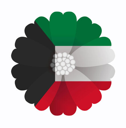 kuwait: illustration of flower Flag Kuwait Illustration