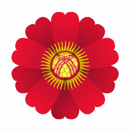illustration of flower Flag Kyrgyzstan