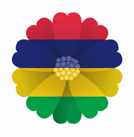 mauritius: illustration of flower Flag Mauritius