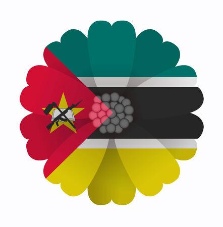 mozambique: illustration of flower Flag Mozambique