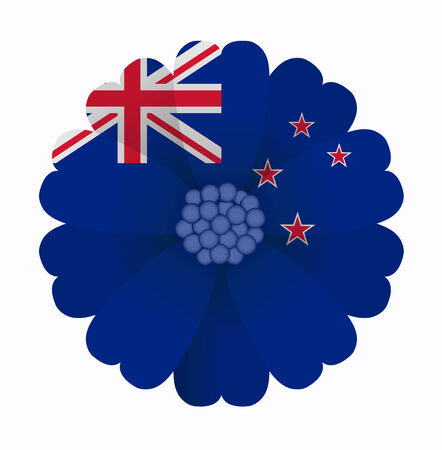 flag of new zealand: illustration of flower Flag New Zealand Illustration
