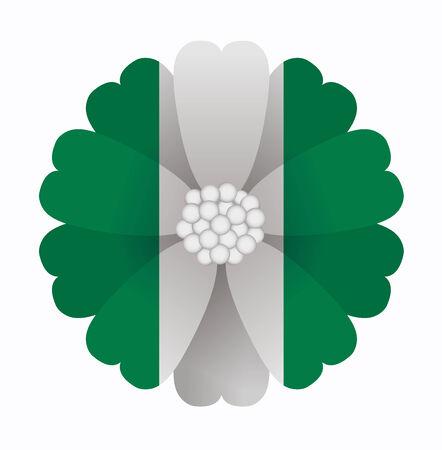 nigeria: illustration of flower Flag Nigeria