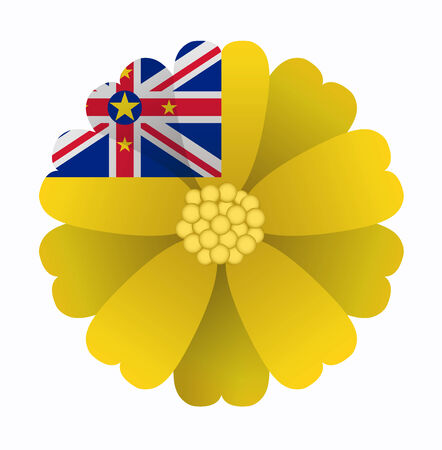 niue: illustration of flower Flag Niue Illustration