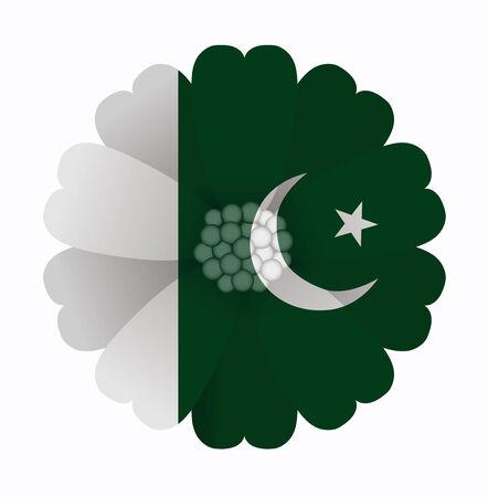 flag of pakistan: illustration of flower Flag Pakistan Illustration