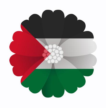 palestine: illustration of flower Flag Palestine