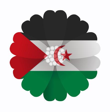 sahrawi arab democratic republic: illustration of flower Flag Sahrawi Arab Democratic Republic