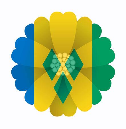 grenadines: illustration of flower Flag Saint Vincent and the Grenadines Illustration