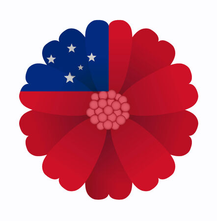 samoa: illustration of flower Flag Samoa