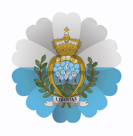 illustration of flower Flag San Marino Vector