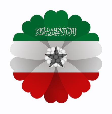 somaliland: illustration of flower Flag Somaliland Illustration