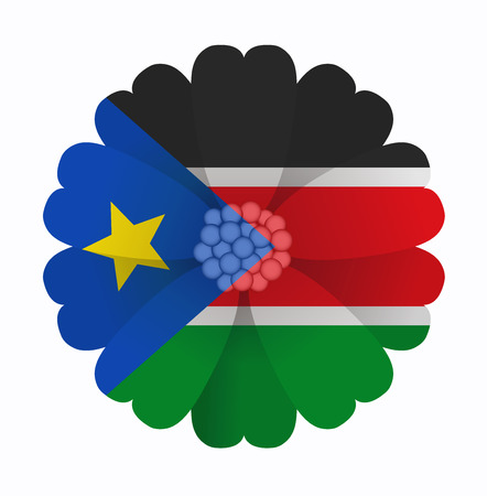 south sudan: illustration of flower Flag South Sudan Illustration