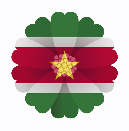 suriname: illustration of flower Flag Suriname Illustration