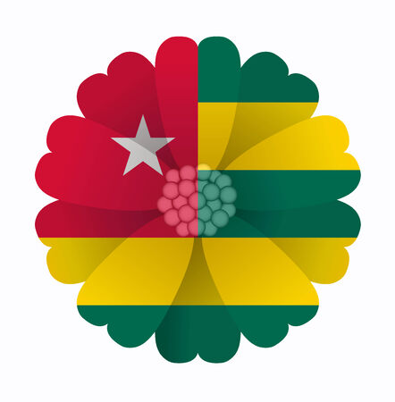 togo: illustration of flower Flag Togo Illustration