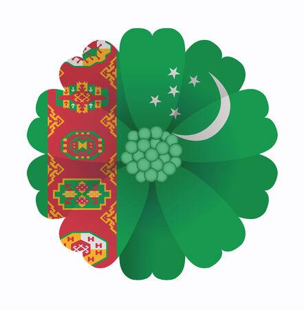 illustration of flower Flag Turkmenistan Vector
