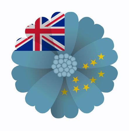 tuvalu: illustration of flower Flag Tuvalu