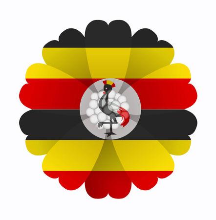 illustration of flower Flag Uganda Vector