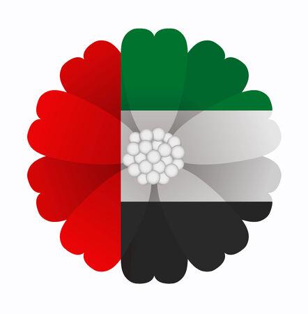 emirates: illustration of flower Flag United Arab Emirates