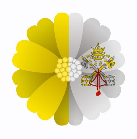 ciudad del vaticano: ilustraci�n de la flor Bandera Ciudad del Vaticano