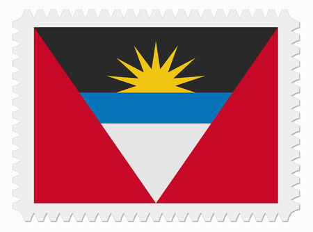 illustration Antigua and Barbuda flag stamp Vector