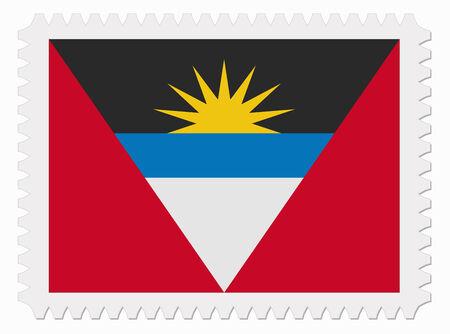 antigua: illustration Antigua and Barbuda flag stamp Illustration