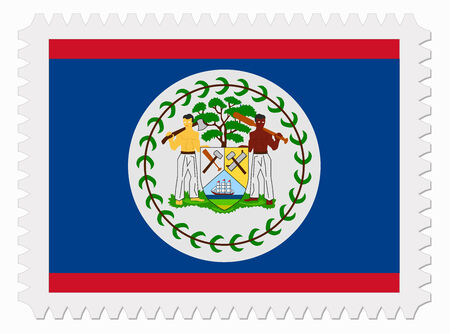 belize: illustration Belize flag stamp