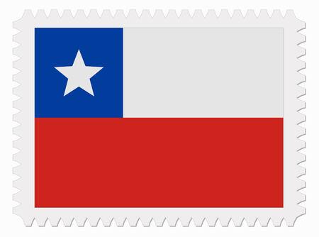 chile flag: illustration Chile flag stamp