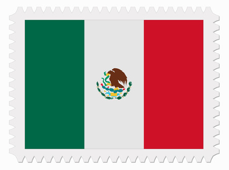 illustration Mexico flag stamp Illustration