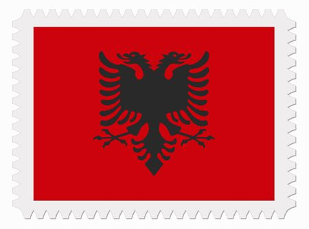 illustration Albania flag stamp Illustration