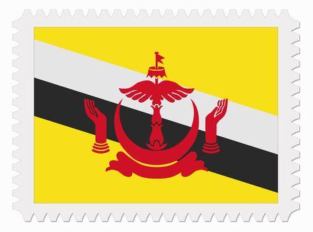 illustration Brunei flag stamp