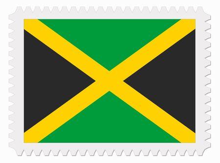 jamaica: illustration Jamaica flag stamp Illustration