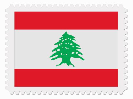 illustration Lebanon flag stamp