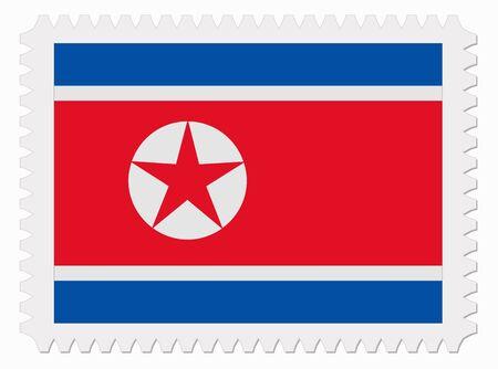 north korea: illustration North Korea flag stamp