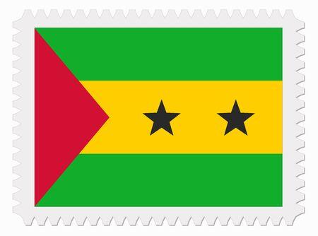 tome: illustration Sao Tome and Principe flag stamp Illustration