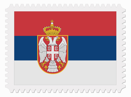 illustration Serbia flag stamp