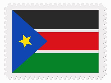 south sudan: illustration South Sudan flag stamp