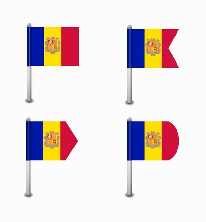 design set of four flags Andorra Illustration