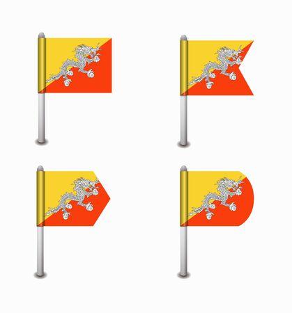 bhutan: design set of four flags Bhutan Stock Illustratie