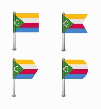 comoros: design set of four flags Comoros