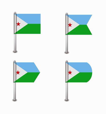 design set of four flags Djibouti Vector