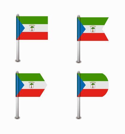 equatorial: design set of four flags Equatorial Guinea Illustration