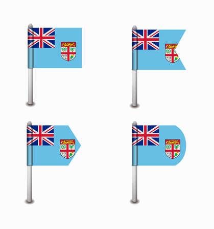 fiji: ontwerp set van vier vlaggen Fiji Stock Illustratie