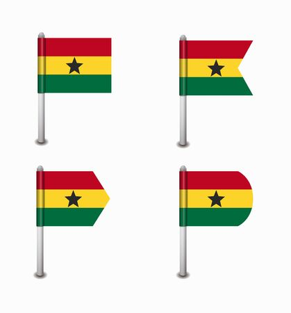 ghana: ensemble de la conception de quatre drapeaux Ghana Illustration