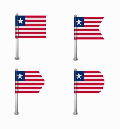 design set of four flags Liberia Vector