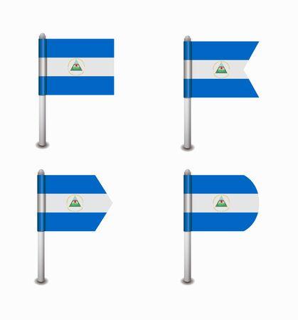 design set of four flags Nicaragua Illustration
