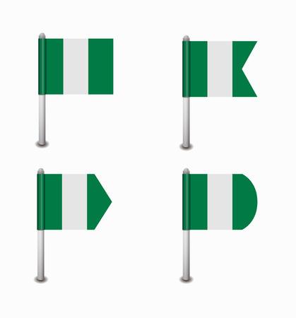 nigeria: design set of four flags Nigeria