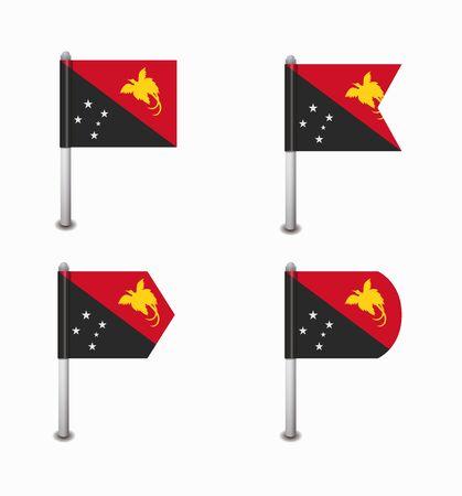 papouasie: ensemble de quatre drapeaux Papouasie-Nouvelle-Guin�e de conception